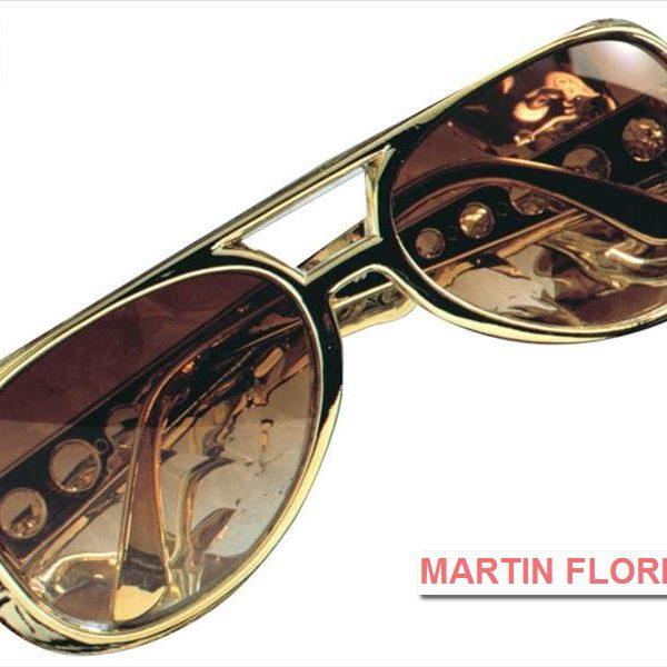 Gafas Elvis chulo doradas