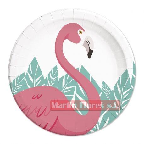 Platos flamenco rosa 8u
