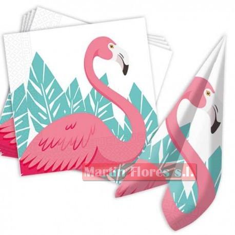 Servilletas flamenco rosa 20u