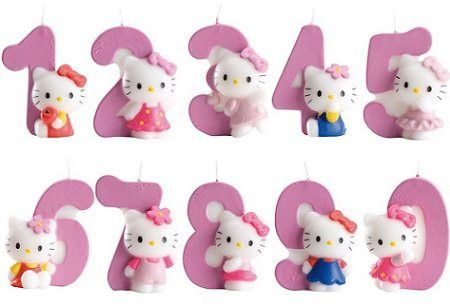 Vela hello kitty con número