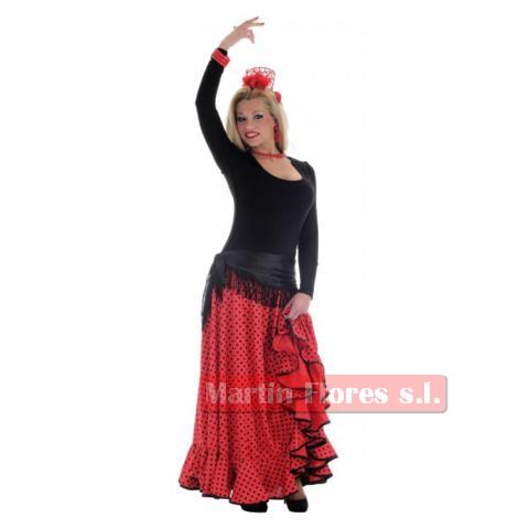 Falda baile lunares rojo/negra