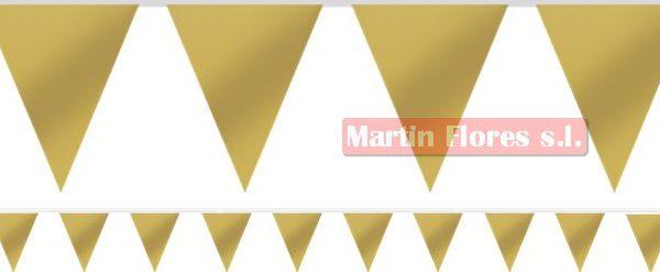 Banderín triángulos Dorado 10m