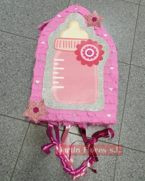 Piñata 3D biberón bebé rosa