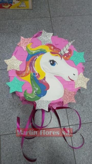 Piñata 3d Cabeza Unicornio Redonda