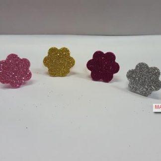 Anillos flores purpurina 6u