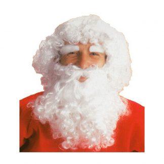 Peluca y barba blanca rizada, Papá Noel