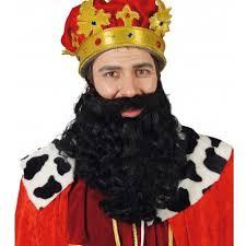 Barba rey negra ondulada lujo