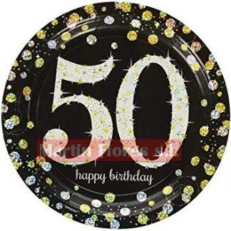 Platos negro 50 años 8u