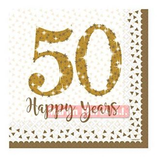 Servilleta dorada 50 años 16u