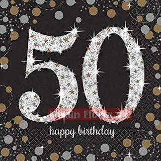 Servilleta negra 50 años 16u
