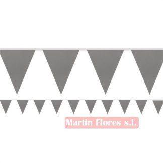 Banderín triángulos plateado 10m