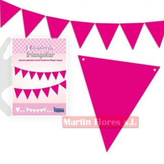 Banderín triángulos rosa fucsia