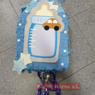 Piñata 3D biberón bebé celeste