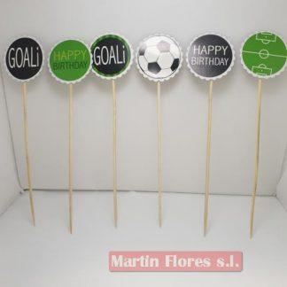 Brocheta decoración 6u deportes fútbol