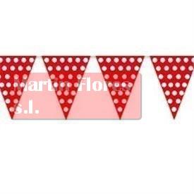 Banderín triángulos rojo lunares blancos