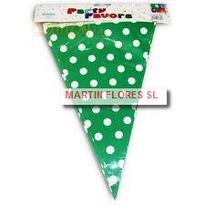 Banderín triángulos verdes lunares blancos