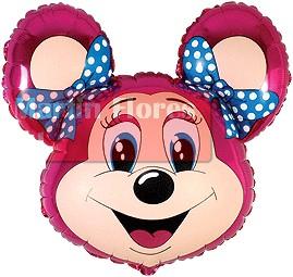 Globo palillo cabeza ratona rosa