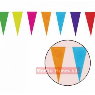 Banderín triángulos colores plástico