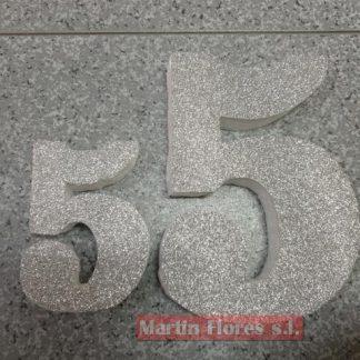 Número decoración plateado