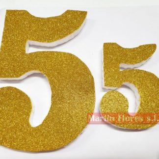 Número decoración dorado